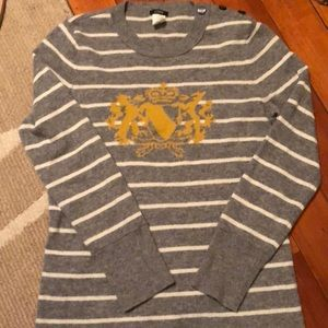 J. Crew Striped Wool and Cashmere Crewneck Sweater